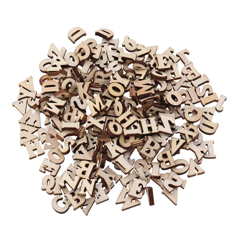 200pcs DIY Educational Toy Small Wooden Slice Scrapbooking Embellishments DIY Craft Decor (English Letters)