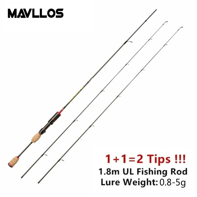 Mavllos Ultralight Carbon Fishing Rod 1 8M 2 UL Pole Tips Lure Weight 0 8 5g Fast Action 2 5LB Carp Spinning Rod in Fishing Rods from Sports Entertainment