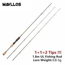 Mavllos Ultralight Carbon Fishing Rod 1.8M 2 UL Pole Tips Lure Weight 0.8-5g Fast Action 2-5LB Carp Spinning