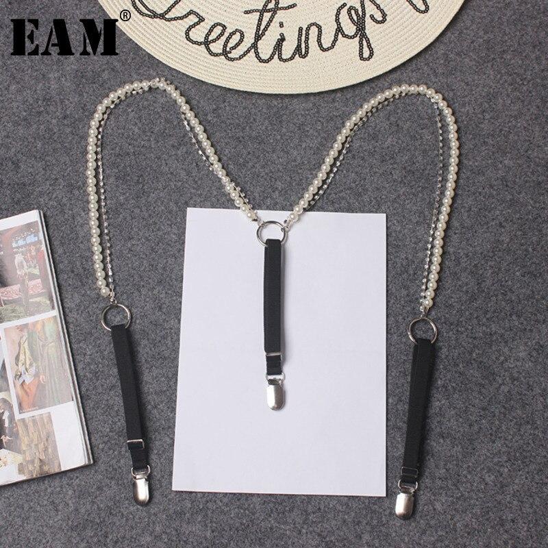 EAM Pearl Beading Diamond Elasitc Suspengders For Shirt Braces For Women Adults Pants Trousers Skirts Fashion Korean SC251