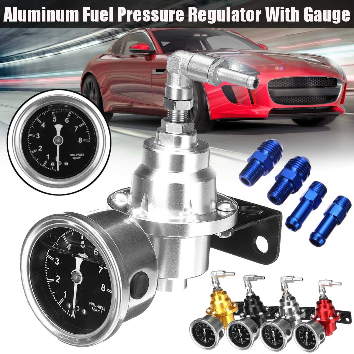 Universal Adjustable Aluminum Fuel Pressure Regulator With Gauge Kit Black Titanium Red Gold Silver Blue