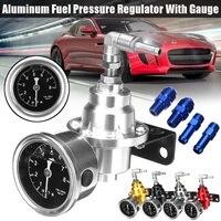 ユニバーサル調整可能なアルミ燃料圧力ゲージキット黒チタンレッドゴールドシルバーブルー -