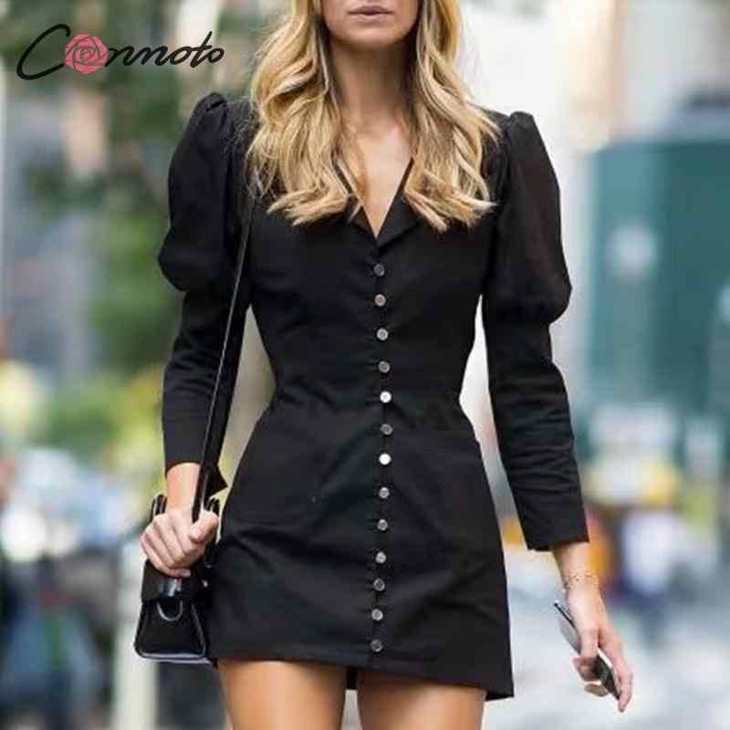 Conmoto damska casualowa sukienka z długimi rękawami 2019 zimowa nowa damska koszulka z dekoltem w szpic wąska krótka sukienka moda biurowa, damska sukienka