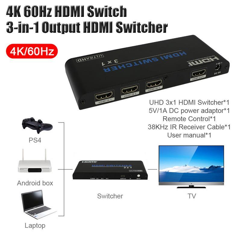 Commutateur HDMI 4 K 60Hz 3-en-1 sortie commutateur HDMI Spliter Support télécommande HDMI2.0 HDCP 2.2 UHD HDR Full HD 3D pour PC TV