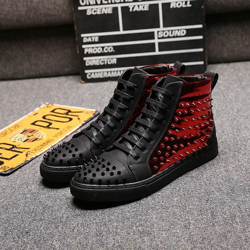 Livre Caminhada Para Homens Sapatos Esporte Sneakers Ar High De Lazer Atlético Ao Moda Skate Black Top Botas Red fUXfq