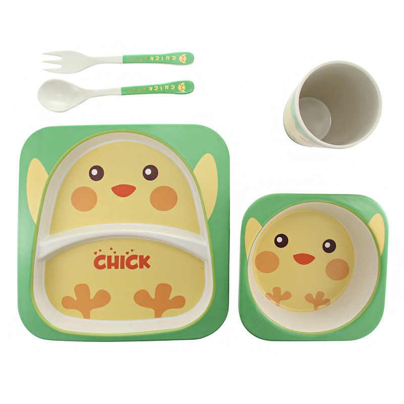 Lovely Bee 5 ชิ้น/เซ็ต Bamboo Fiber Tableware ลื่นอาหารเย็นให้อาหารเด็กจานการ์ตูนสำหรับดูแลเด็กเด็กทารก