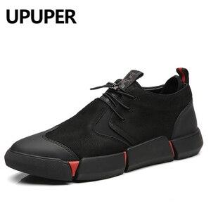 Image 3 - Upuper todos os sapatos casuais masculinos de couro preto plana rendas até moda masculina tênis respirável ao ar livre sapatos de inverno