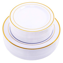 Gold Disposable Plates Dessert/Appetizer plates with Gold Rim Real China Look for Weddings, Parties,Catering,Birthday parties