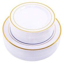 Oro Usa E Getta Piatti Da Dessert/Antipasto Piatti con Bordo In Oro Reale Cina Look per Matrimoni, Feste, ristorazione, feste di Compleanno