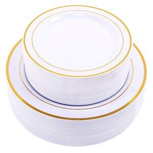 Image 1 - Vàng Dùng Một Lần Ô Món Tráng Miệng/Món Khai Vị đĩa với Viền Vàng Thực Trung Quốc Nhìn cho Đám Cưới, Các Đảng Phái, phục vụ ăn uống, Sinh Nhật