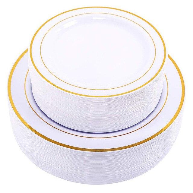 Vàng Dùng Một Lần Ô Món Tráng Miệng/Món Khai Vị đĩa với Viền Vàng Thực Trung Quốc Nhìn cho Đám Cưới, Các Đảng Phái, phục vụ ăn uống, Sinh Nhật