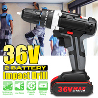 36V Electric Impact Cordless Drill 5200mAh 1/2 Li ion Battery 28Nm Wireless Rechargeable LED Light Home DIY Electric Power Tool