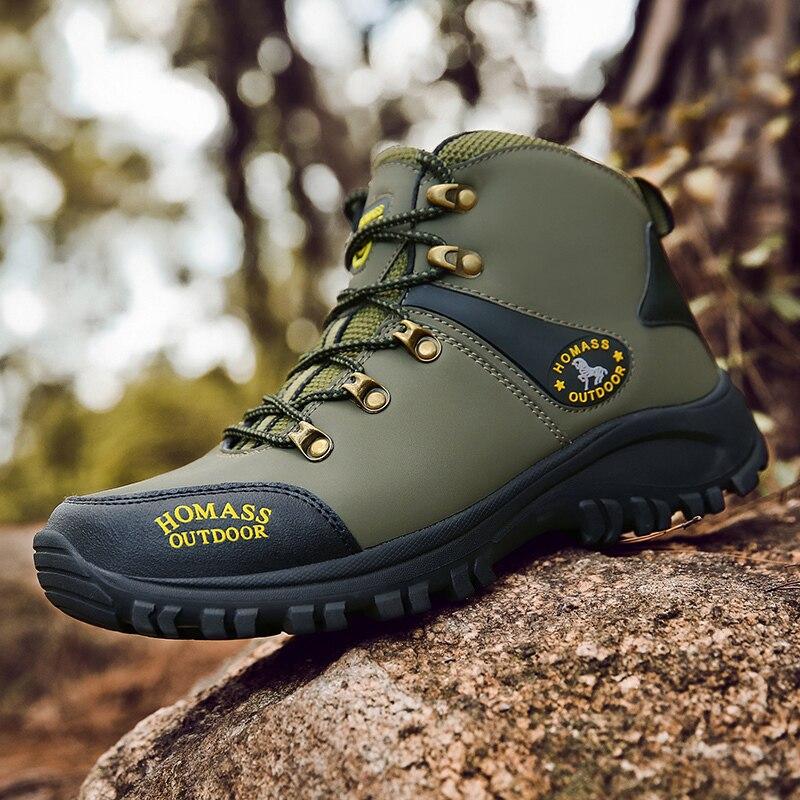 Уличные походные мужские водонепроницаемые походные ботинки, теплые высокие горные альпинистские ботинки для кемпинга, нескользящая обув...