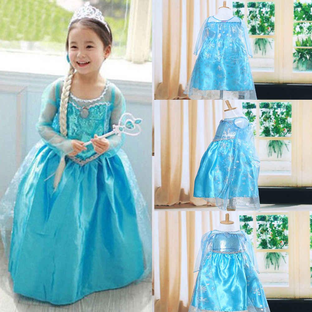 2019 Yepyeni 3-8Y Çocuklar Kız Kar Dondurulmuş Elbise Kostüm Prenses Tutu Parti Elbiseler Cosplay Kostüm Seti
