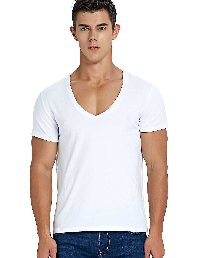 Deep V Neck T Shirt for Men Low Cut Scoop Neck Top Tees Drop Tail Short Sleeve Male Cotton Casual Style