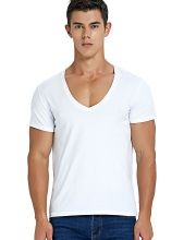 Deep V Neck T Shirt for Men Low Cut Scoop Neck Top Tees Drop Tail Short Sleeve Male Cotton Casual Style pink simple low cut v neck bikini top