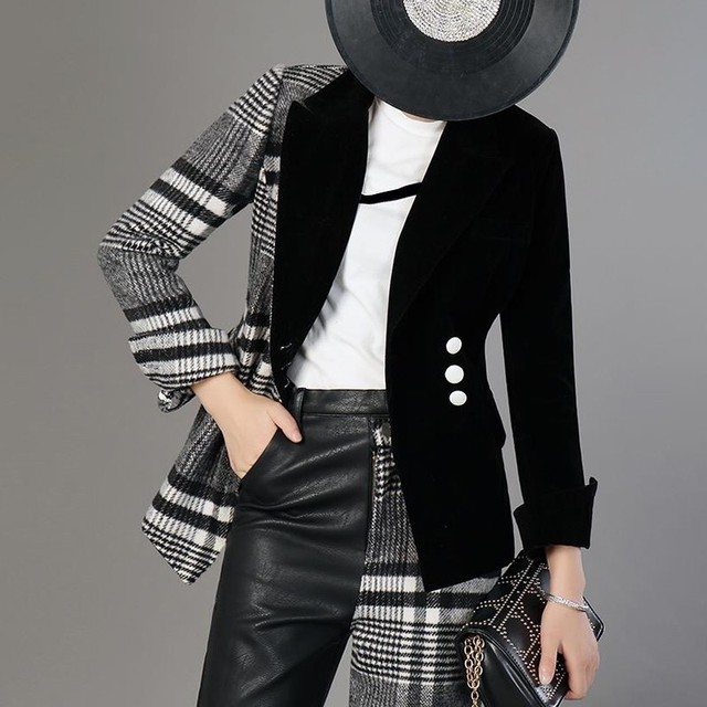Fashion Blazer - Plaid Print - 4 Sizes 2
