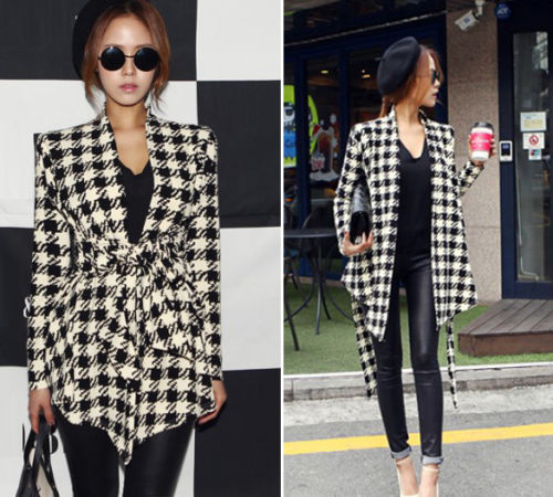 2018 New Womens Korean Fashion Plaid Check Slim Fit Coat Jacket Cardigan