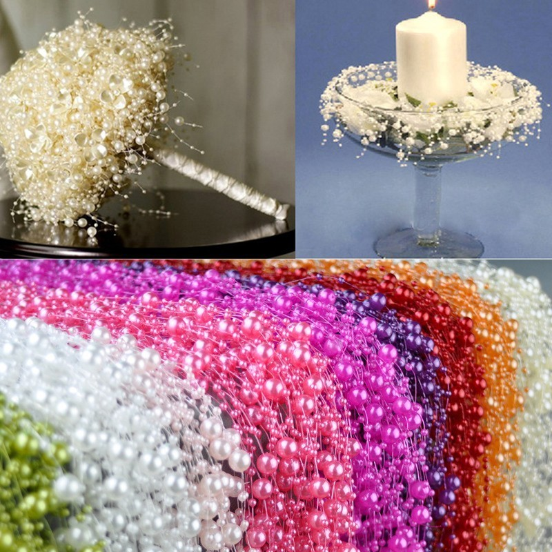 5m DIY Garland Artificial Pearl Beads Chain Wedding Decoration Table Centerpieces Supplies Bride Bouquet Hair Accessories Flower