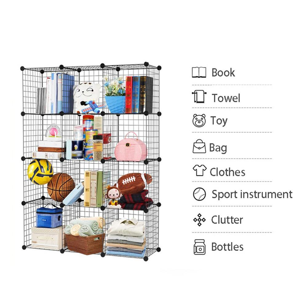 Multifunctional Black Metal 35x35cm Mesh Combination Storage DIY Cube Wardrobe And Modular Shelf Net Wire Mesh Shelf And Shelf