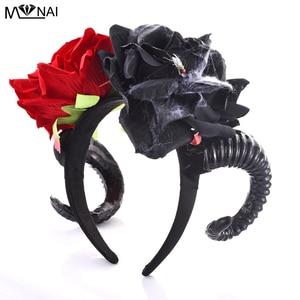 Schafe Hörner COS Headwear frauen Stirnband Geweih Rose Floral Haar Zubehör Für Halloween Karneval Cosplay Zeigen