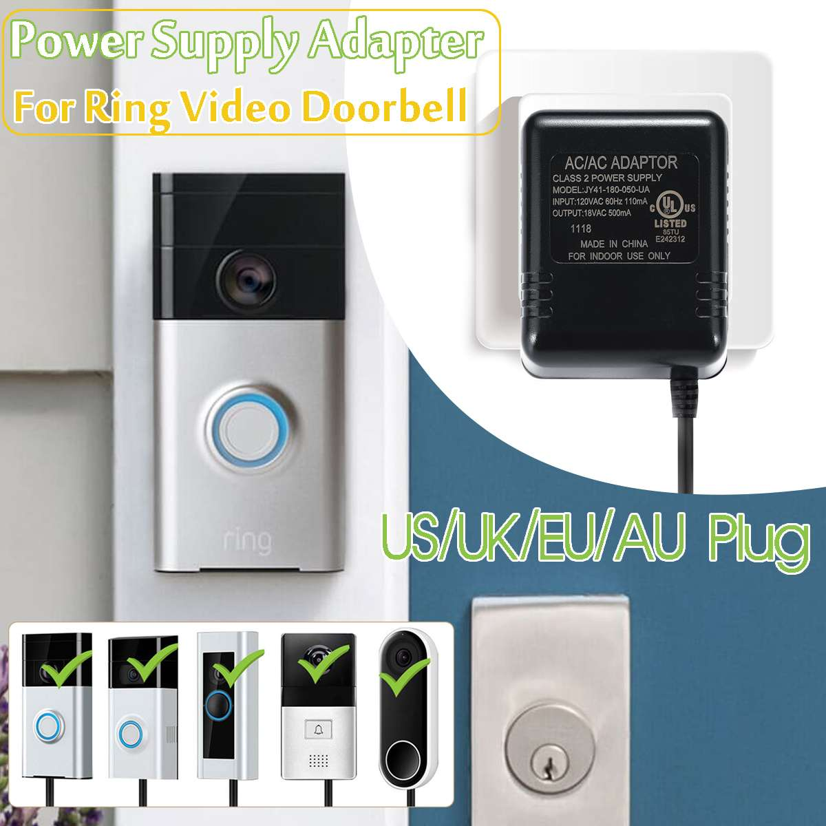 US/UK/EU/AU 8M Wifi Doorbell Camera Power Adapter for IP Video Intercom  Ring Wireless Doorbell 110V-240V AC 18V Transformer