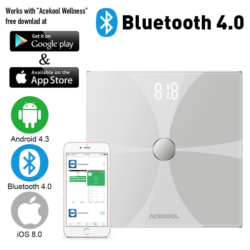 Adeeing Bluetooth Corpo Escala de Gordura Escala de Banheiro Digital Sem Fio Inteligente Grande Lcd Retroiluminado de Alta precisão Medições - 4