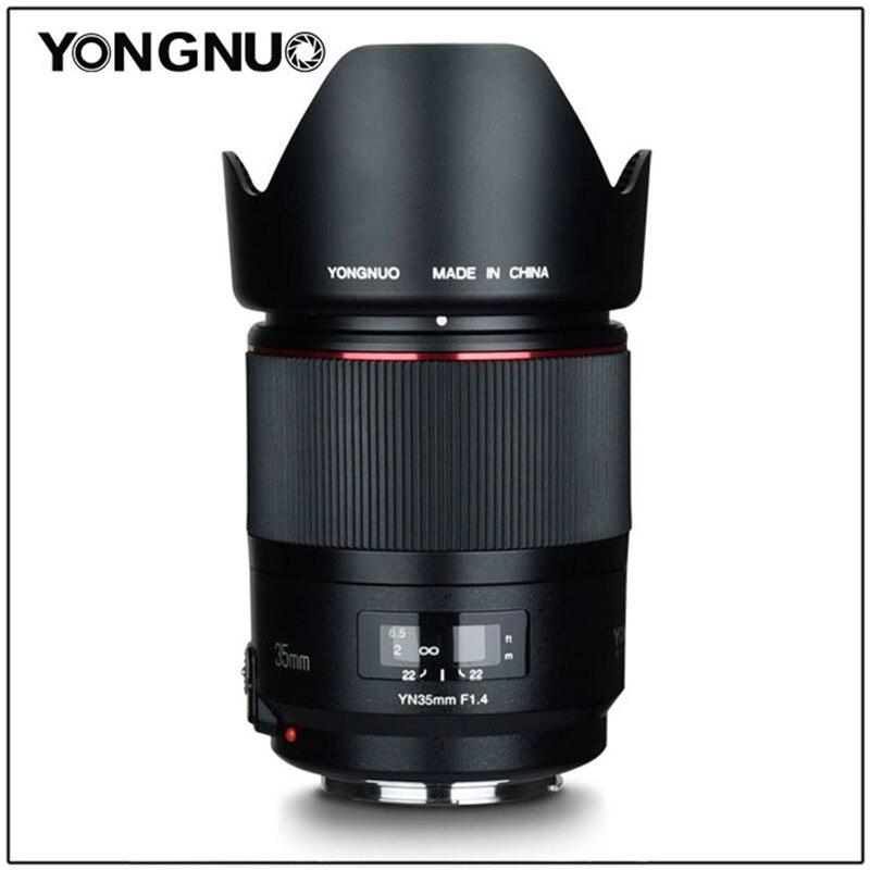 YONGNUO YN35MM F1.4 lente gran angular estándar para lente de cámara Canon brillante apertura Prime DSLR para 600D 60D 500D 400D 5D II