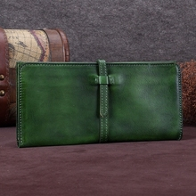 Luxury Handmade Genuine Leather Woman Wallet Coin Purse Leather Long Wallet Phone Pocket Day Clutch Bag  Women Vintage Money bag terse wallet handmade leather wallet mens women long money bag italian leather purse vintage engraving custom service 545 1