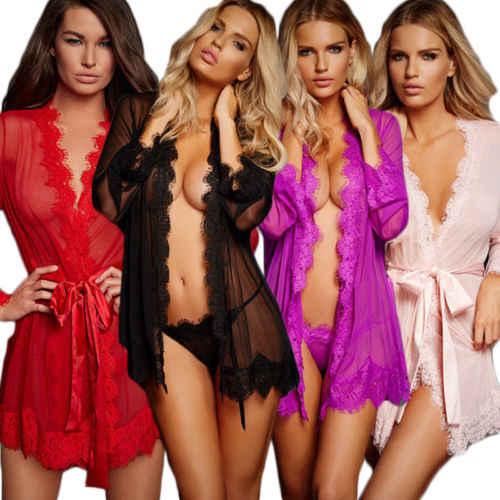 סקסי הלבשה תחתונה נשים משי תחרה חלוק שמלה לראות דרך שקוף חלוקי רחצה גלימת Babydoll כתנות לילה הלבשת