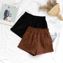 Woolen Shorts Women Autumn Winter Casual Harajuku Cute Slim Elastic Waist Wide Leg Booty Feminino Brown Black Bottom