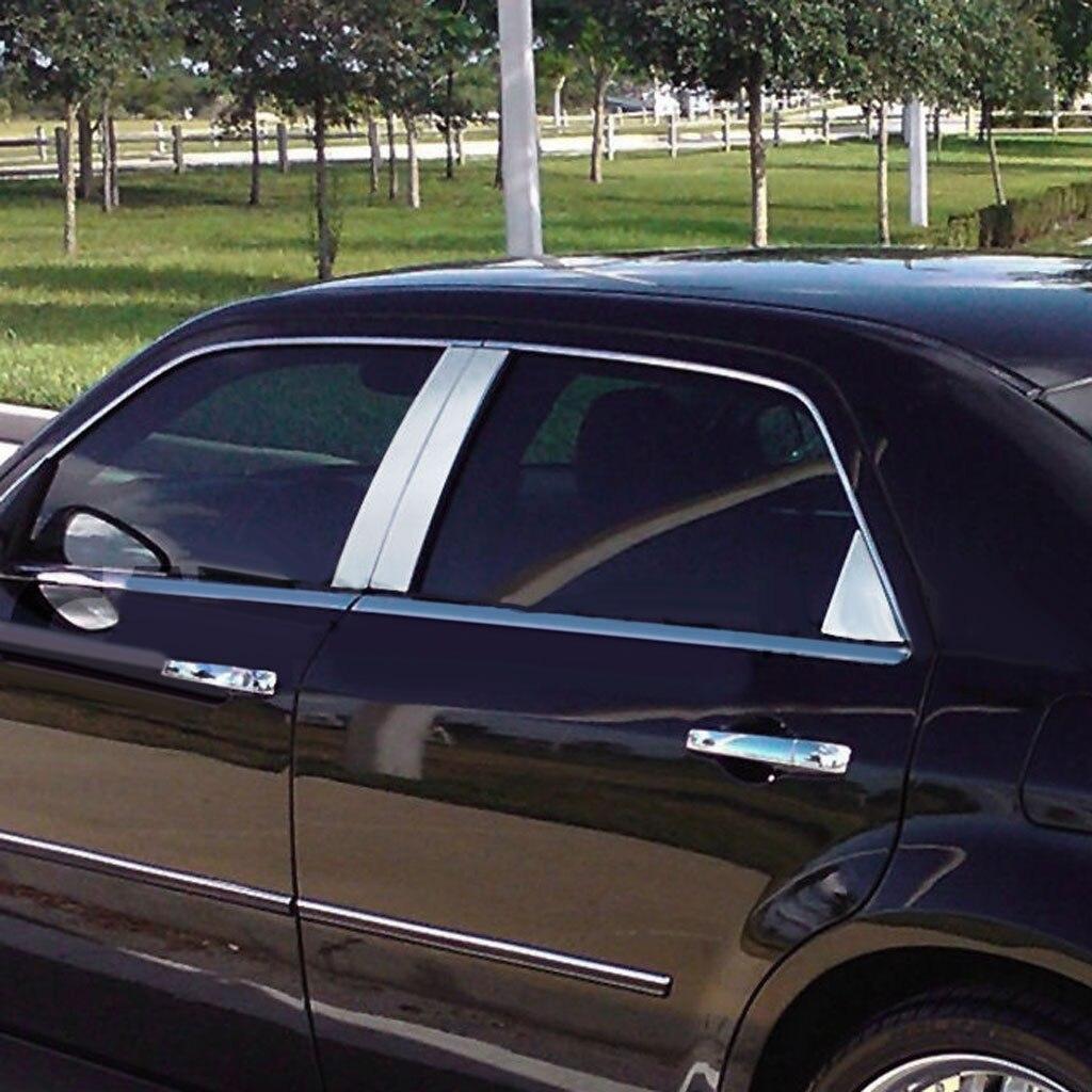 6 pcs Chrome Pilier Poster Garniture Couverture pour 05-10 Chrysler 300 300C Magnum Triple Chrome Enduit dans son ensemble nouveau EURO brillant look chrome