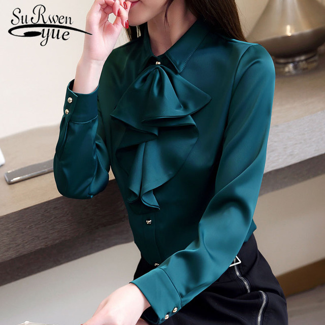 11ec91d5ef9807 Plus size 2019 Spring women blouses Fashion OL womens tops and blouses  Chiffon blouse female Long Sleeve Women Shirts 2030 50