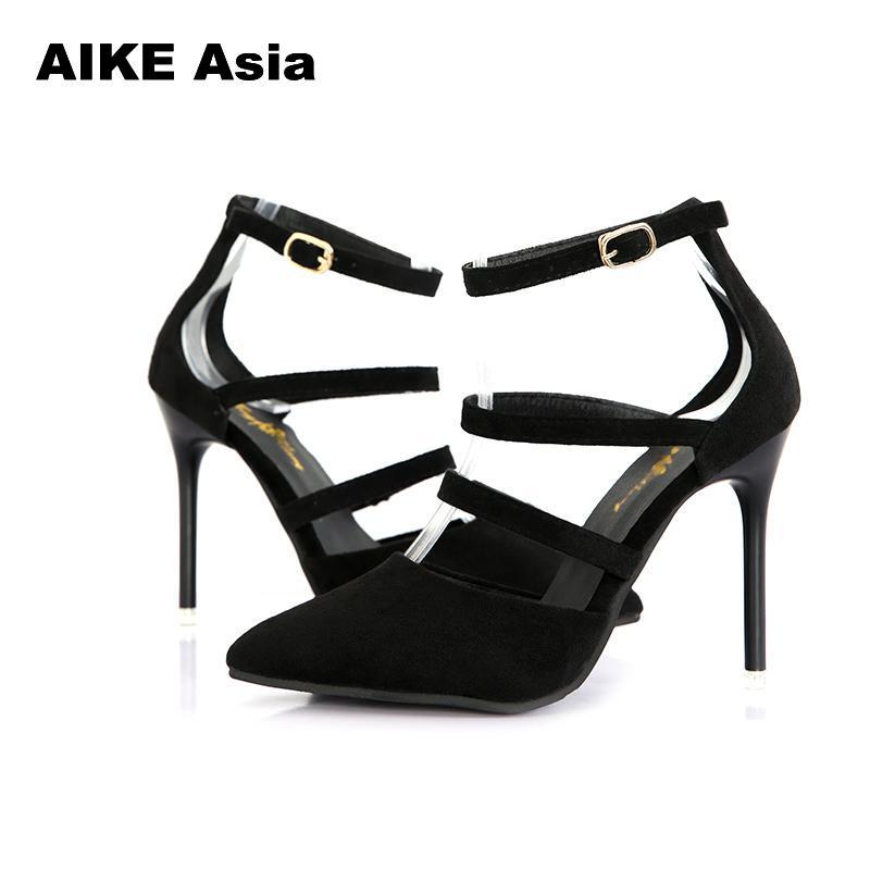 2019 Fashion Women Plus Size Summer High Heels Shoes Women Pumps Peep Toe Rome Party Shoes Thin Heel Buckle Strap