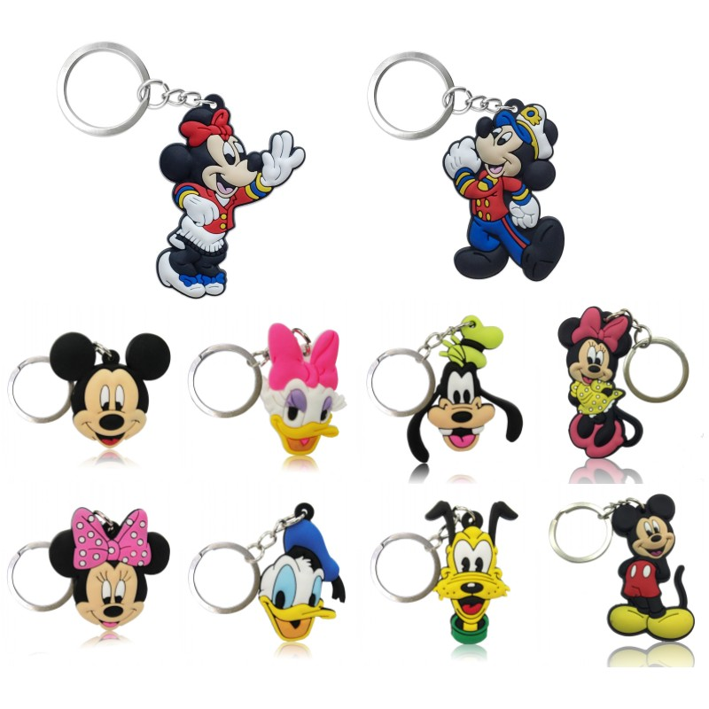 20pcs/lot Mickey Kawaii Cartoon Keychain Minnie PVC Key Ring Key Chain Key Holder Party Favor Chaveiro Trinkets Kids Gift