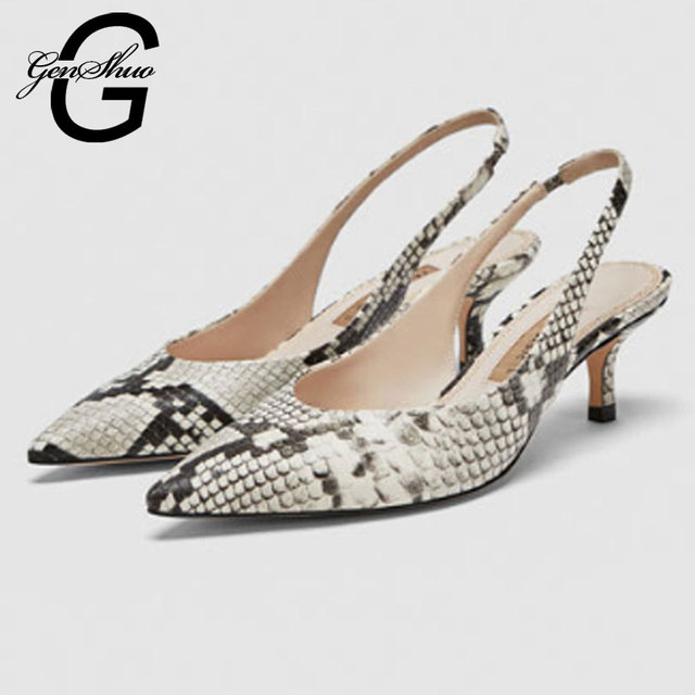 GENSHUO Women Summer Cover Toe High Heel Sandals Pointed Toe Slingbacks Sandals Thin Heels Shoes Women Shoes Concise Dress Shoes
