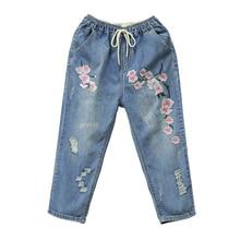 купить Jeans For Women Casual Hole Ripped Jeans Denim Pants Calf-Length High Waist Vintage Floral Embroidery Harem Pants Plus Size 3XL по цене 1819.77 рублей