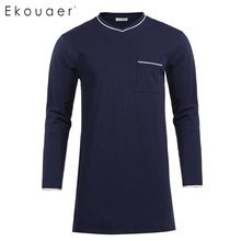 Ekouaer мужская повседневная одежда для сна, Хлопковая пижама, топ с v-образным вырезом, с длинным рукавом, с разрезом, с карманом, свободная ночная рубашка, ночные рубашки, домашняя одежда
