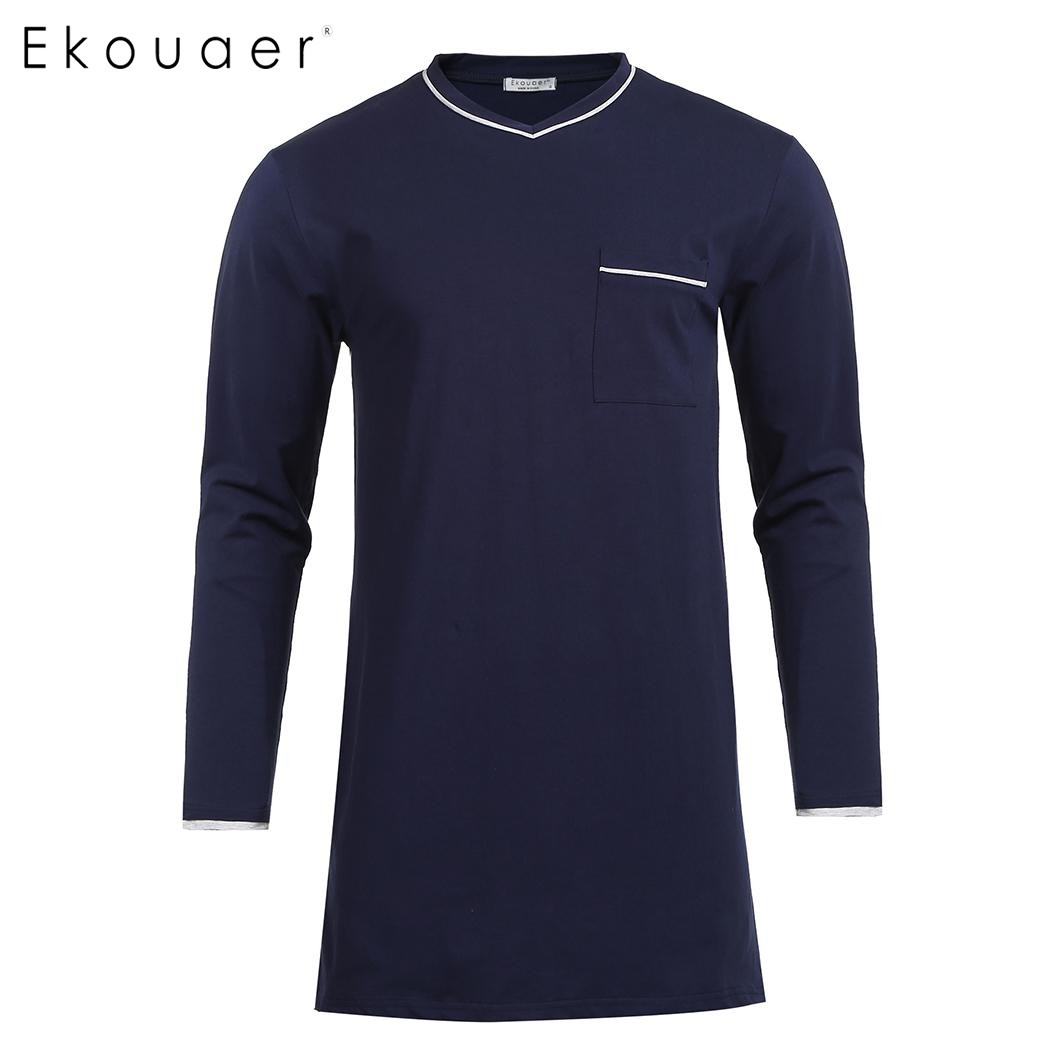 Ekouaer Men Casual Sleepwear Cotton Pajama Top V-Neck Long Sleeve Split Pocket Loose Fit Sleepshirt Nightshirts Homewear