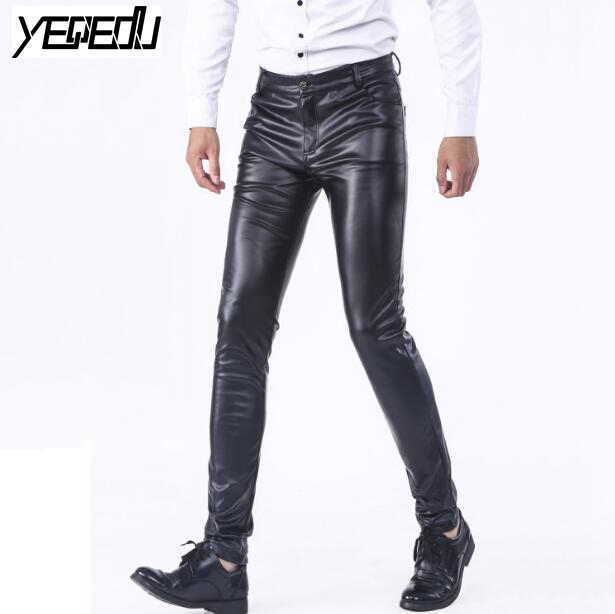 d7903faa7ad  2207 PU Faux leather pants men Skinny Stretch Mens joggers Fashion  Pantalon homme Smart Casual