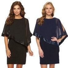2019 Explosion Models European And American Hot Panel Sequin Club irregular cloak top chiffon lace Dress