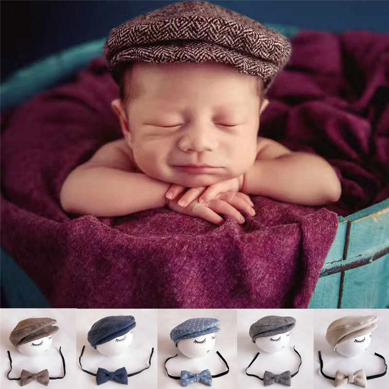 20e7b7f5 Baby Newborn Peaked Beanie Cap Hat +Bow Tie Photo Photography Prop Outfit  Set Fashion Baby
