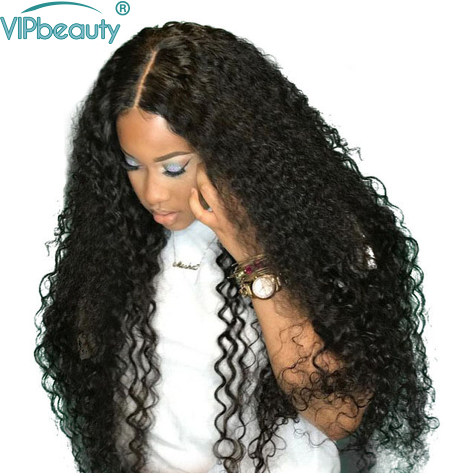 Vipbeauty 150 Curly Hair Lace Front Human Hair Wigs For Women Pre plucked Malaysian Remy Hair