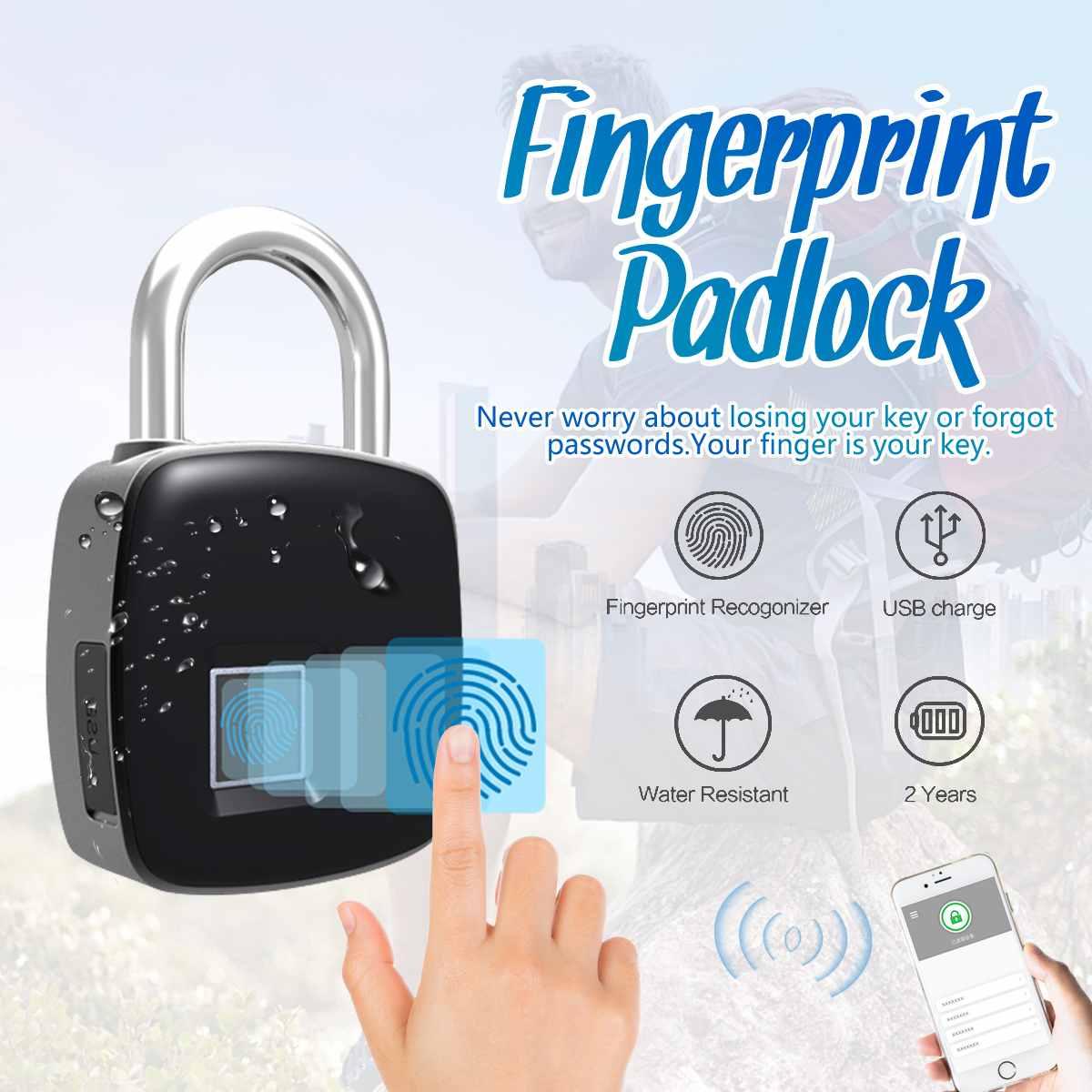 USB Rechargeable Smart Keyless Fingerprint Lock Waterproof Bluetooth Remote Anti-Theft Security Padlock Door Luggage Case Lock