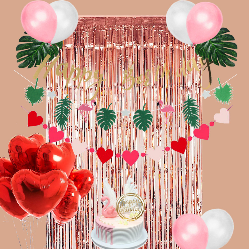 Flamingo Themed Birthday Party Supplies Rose Gold Fringe Tinsel Door Curtain Happy Birthday ...