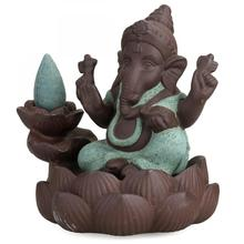 Elephant God Ceramic Backflow Incense Burner Ganesha Lotus Flower Smoke Waterfall Holder Decorative Buddha Home Decor