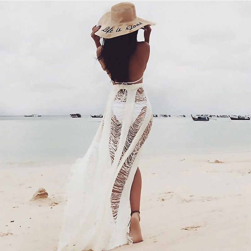 424ac17859b2a Crochet Beach Dress Women Tassel Fringed Cover Ups Beachwear Fishing Net  Bikini Cover Cut Out Swimsuit