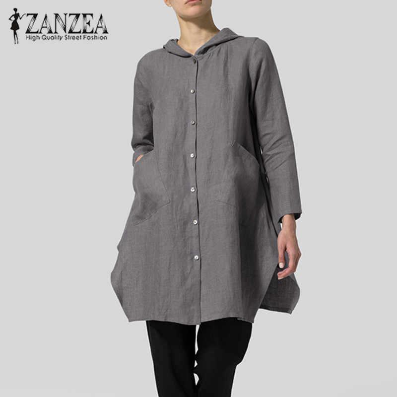 2019 حجم كبير ZANZEA ربيع المرأة عادية الصلبة مقنعين جيوب طويلة الأكمام Vintage غير النظامية حزب فضفاض بلوزة قميص الإناث