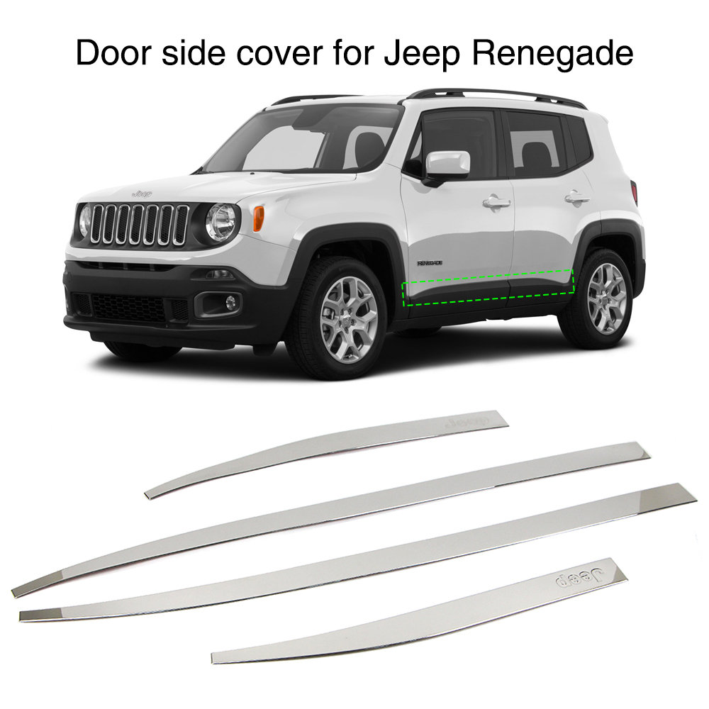 For Jeep Renegade 2015 2016 2017 2018 2019 Door Side Line Cover Exterior Molding Trim Guard Stainless Steel 4PcsFor Jeep Renegade 2015 2016 2017 2018 2019 Door Side Line Cover Exterior Molding Trim Guard Stainless Steel 4Pcs