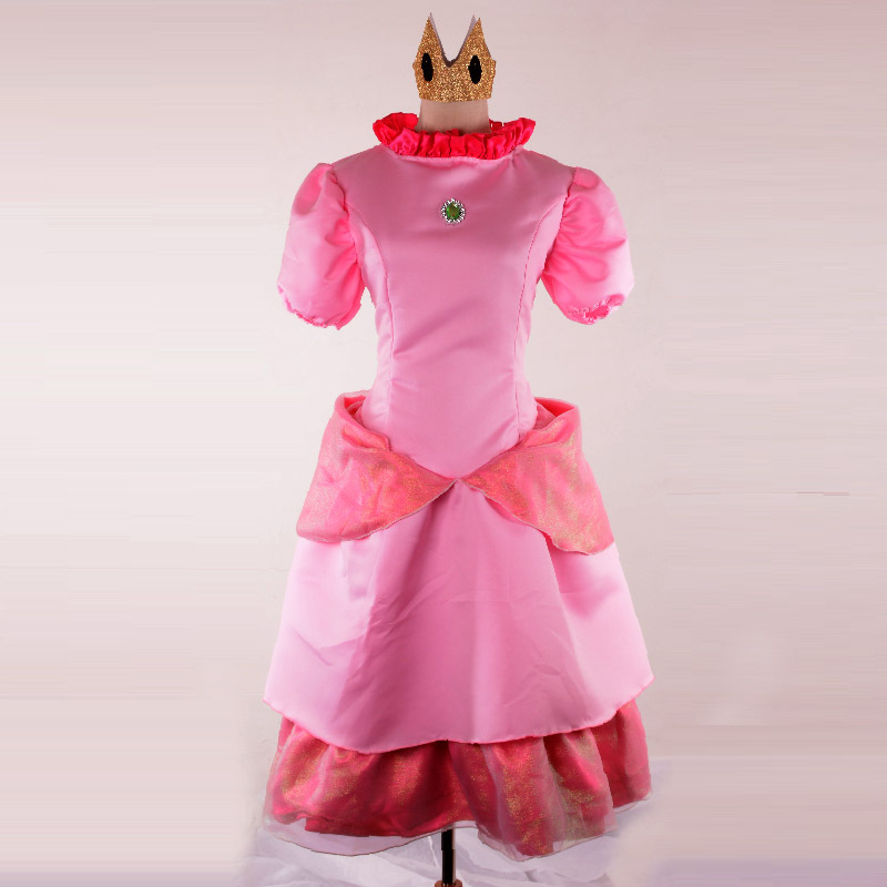 princess peach dress cosplay Pink Bridesmaid super mario adult costume clothing brothers women adults clothes dress halloween